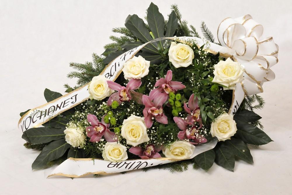 Wiązanka pogrzebowa róże i storczyki