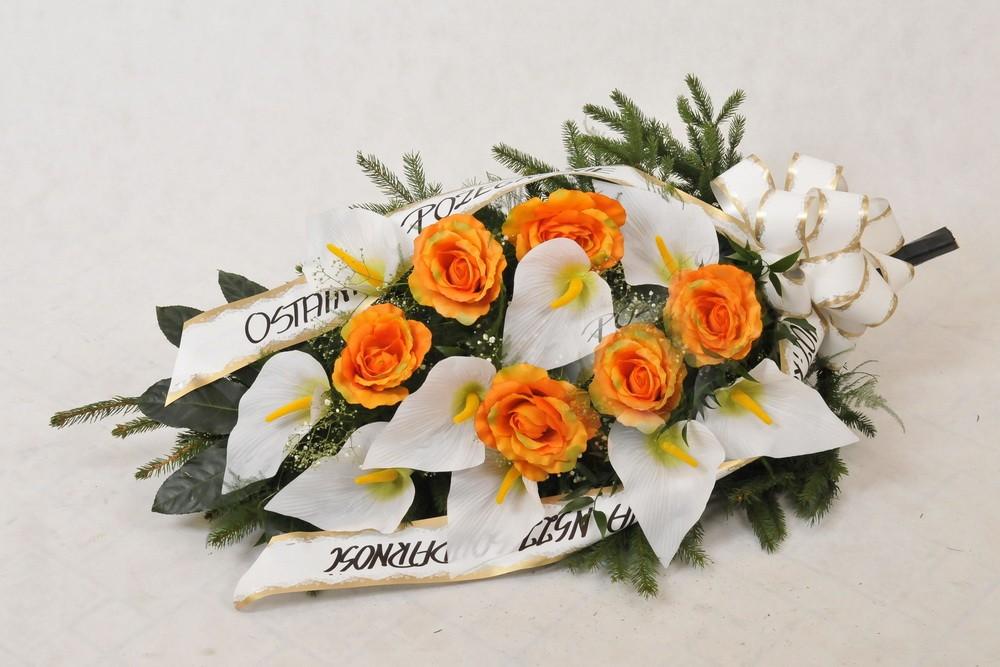 Wiązanka pogrzebowa z pomarańczowych róż