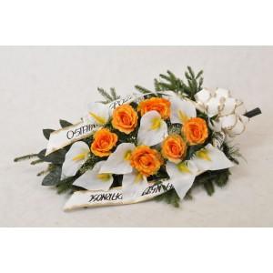 Wiązanka pogrzebowa z kalii i herbacianej róży